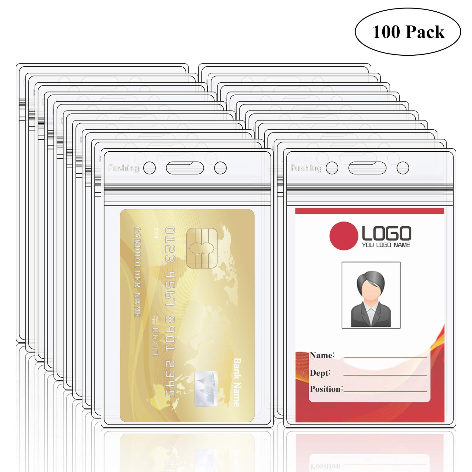 Fushing Pack of 100 Clear Plastic Vertical Badge Holders, Name Tag Holders, Card Holders (XXL)