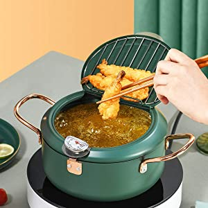 Homease Deep Fryer Japanese Style Tempura Fryer Pot with Thermometer and Oil Drip Drainer Rack for French Fries Shrimp Chicken, Nonstick Coating, Green, Diameter 8.1 inch/ 20.5 cm