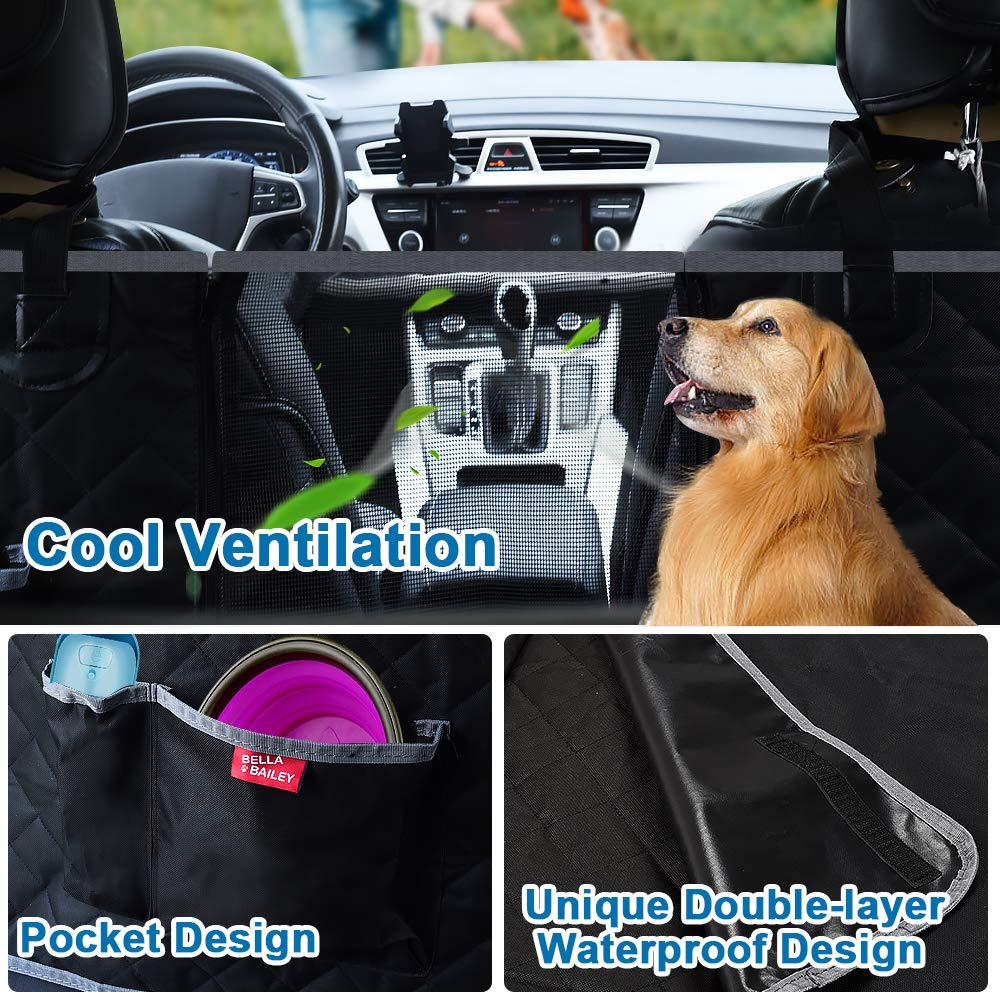 Dog Back Seat Cover Scratch Proof Nonslip Hammock for Cars//Trucks//SUVs BELLABAILEY Dog Car Seat Cover Waterproof with Mesh Window 2 Dog Selt Belts Machine Washable 1 Removable Pad