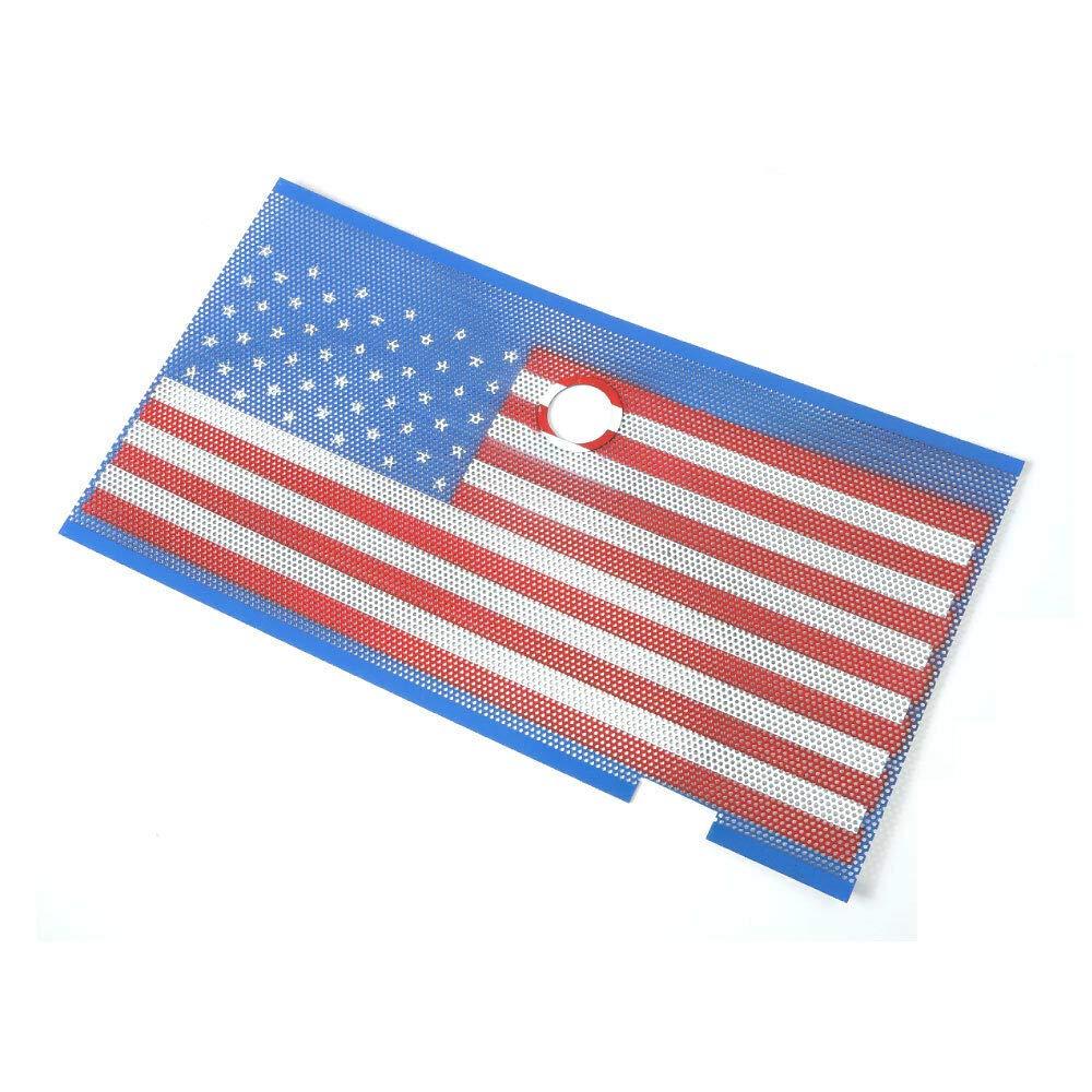 American USA Flag Front Grille Insert Mesh Net with Key Hood Lock for 2007-2018 J-eep Wrangler JK JKU Accessories