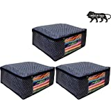 ARVANA Cotton Saree Cover Set for Wardrobe Organizer Saree Bags for storage Organizers (Pack of 3)…