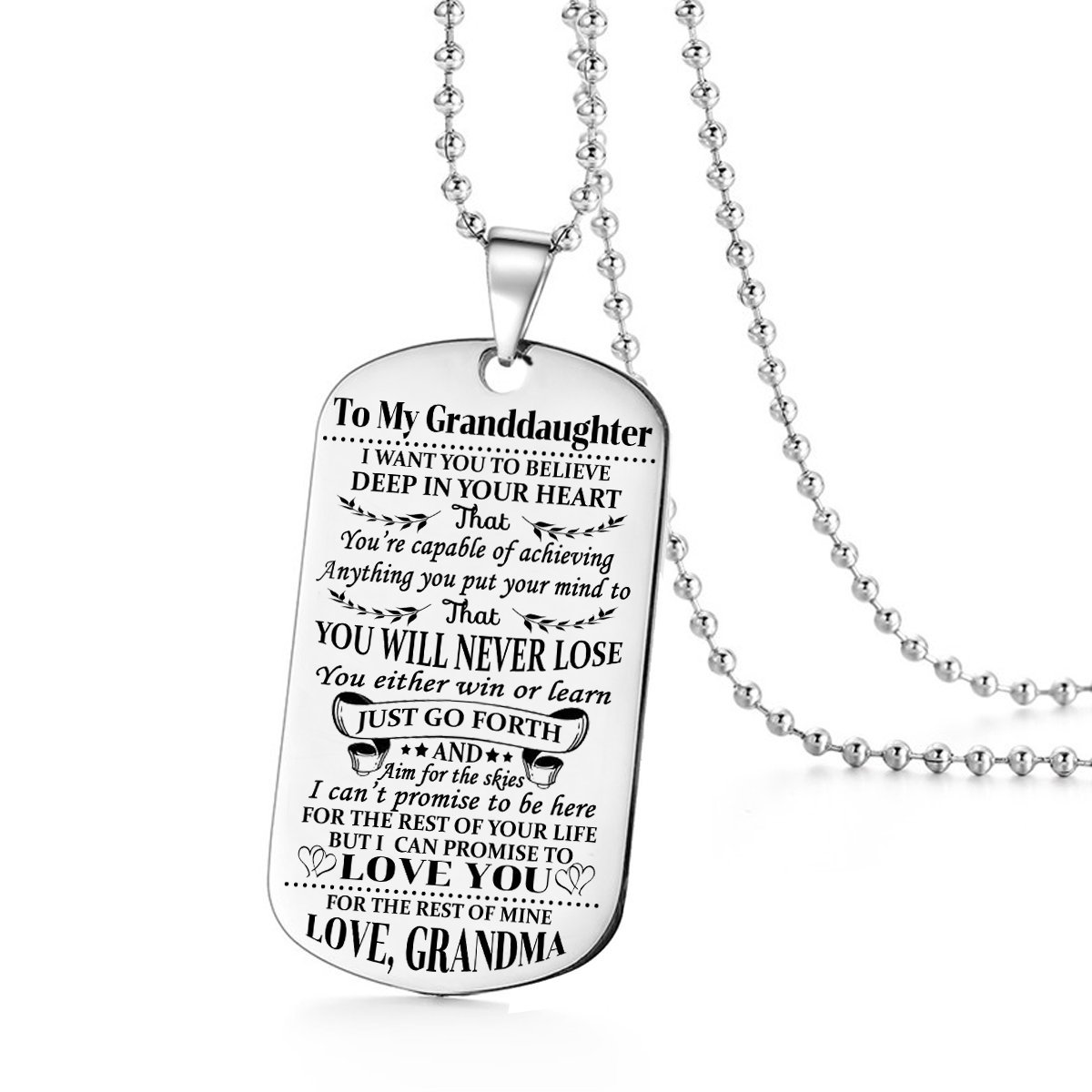Stashix To My Granddaughter I Want You To Believe Love Grandma Dog Tags Necklace Birthday Gift Jewelry Graduation Military Personalized