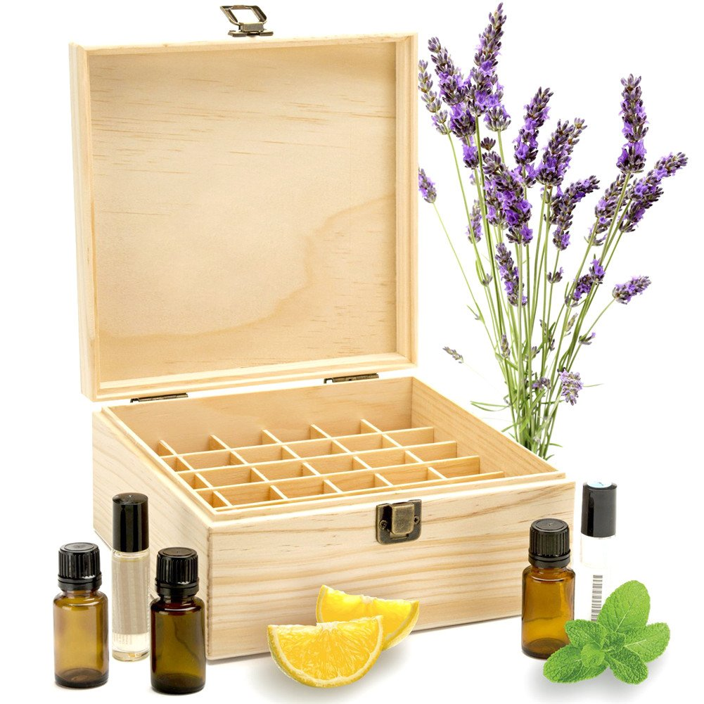 Longshow Essential Oil Box Wooden Storage Case Essential Oils Organizer Best for 2ml 5ml 10ml and 15ml Bottles- 25 Slots