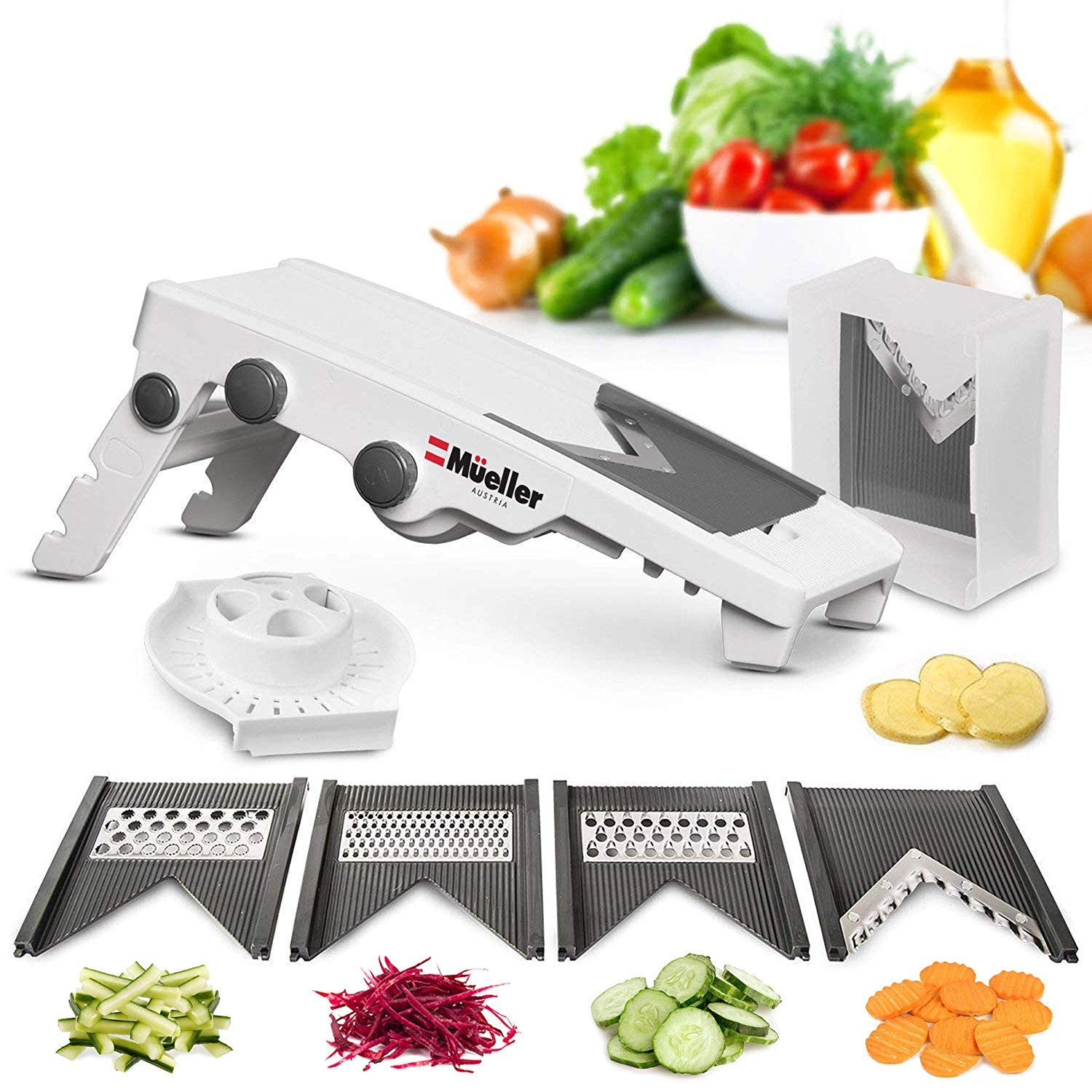 Mueller Austria V-Pro Multi Blade Adjustable Mandoline Slicer and Vegetable Julienner with Precise Maximum Adjustability: Vegetable Slicer and French Fry Cutter, Food Slicer, Vegetable Julienne.