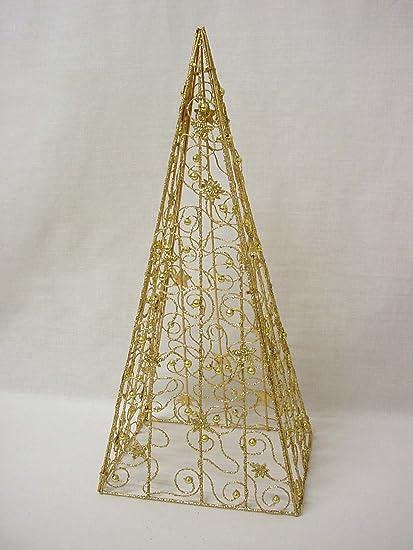 Arbol Piramide Navidad Christmas Plegable Dorado Brillo Amazones - Arboles-de-navidad-dorados