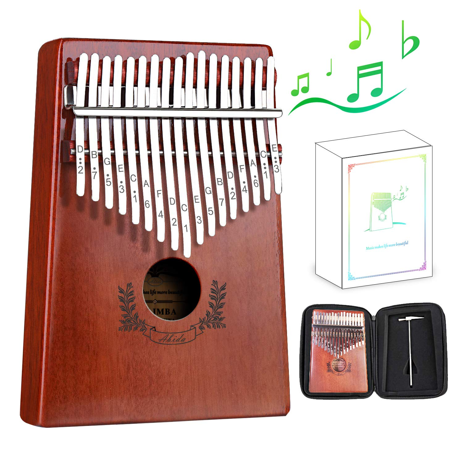 Kalimba, Abida Exquisite 17 Keys Thumb Piano with EVA Waterproof Case Study Instruction Tuning Hammer, Solid Finger Piano Mahogany Body Portable Musical Instrument Gifts for Kids and Adult Beginners