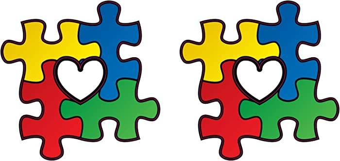Love (2 Pack) Autism Awareness Puzzle Pieces with Heart Vinyl Sticker Decal (2)