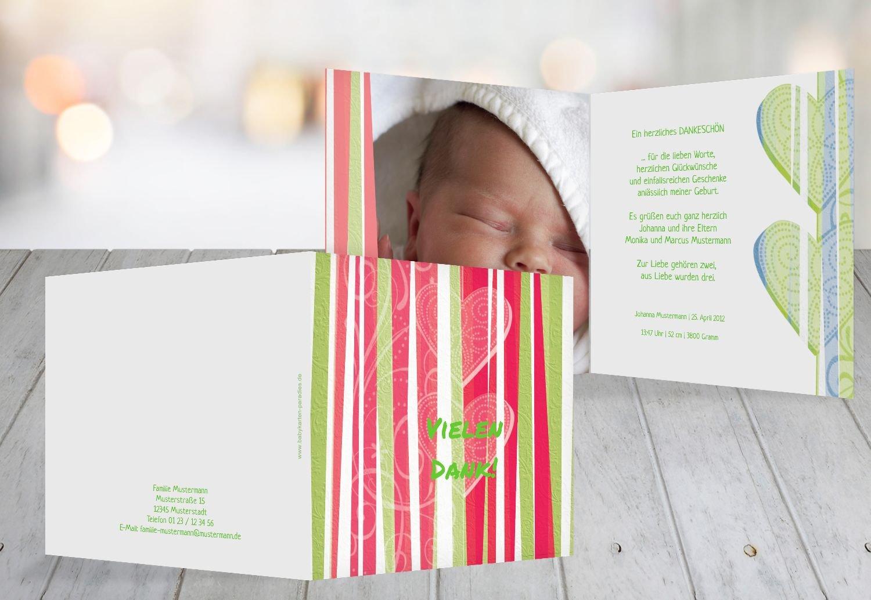Kartenparadies Danksagung für Geburt Baby Dankeskarte hearts and stripes, hochwertige Danksagungskarte Baby inklusive Umschläge   100 Karten - (Format  145x145 mm) Farbe  Grasgruen B01MZFQ33M | Geeignet für Farbe  | Neues Design  | Verkauf