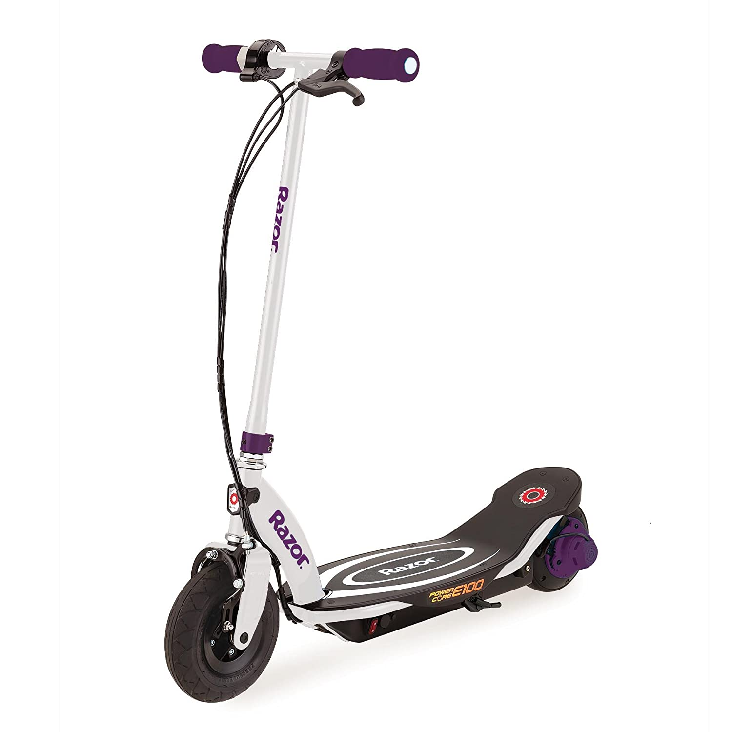 Razor Power Core E100 Electric Hub Motor Kids Toy Motorized Kick Scooter, Purple