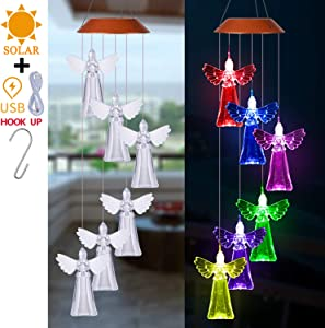 Solar LED Angel Wind Chimes Light Outdoor Decor- Waterproof Changing Color Wind Chime, Angels Solar Lights Xmas Gifts for Mom, Home, Patio,Yard,Festival,Garden Decoration(Solar Powered & USB Charging)