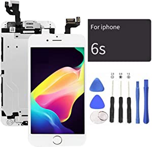 passionTR White LCD Screen Replacement for iPhone 6S Plus 5.5 Inch with Camera Home Button Ear Speaker Proximity Sensor Full Complete Assembly Digitizer Display with Repair Tool kit