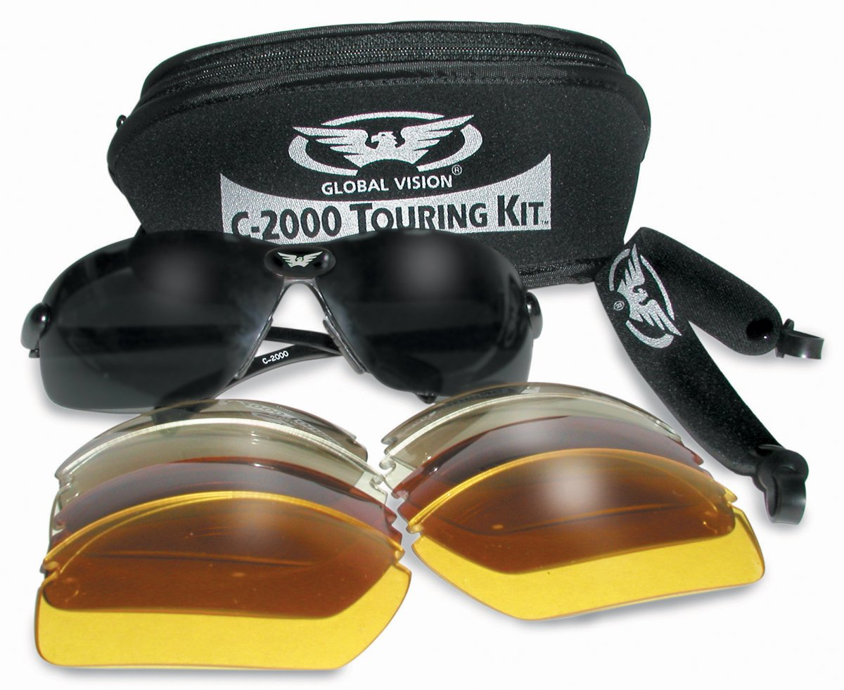 Motorcycle/Biker Glasses/Sunglasses Touring Kit Complete With 5 Sets Of Interchangeable Lenses And Storage Pouch Global Vision