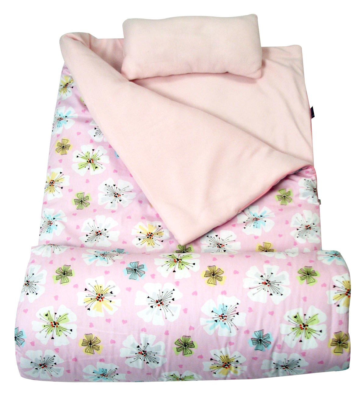 SoHo kids Hearts Flowers children sleeping slumber bag with pillow and carrying case lightweight foldable for sleep over