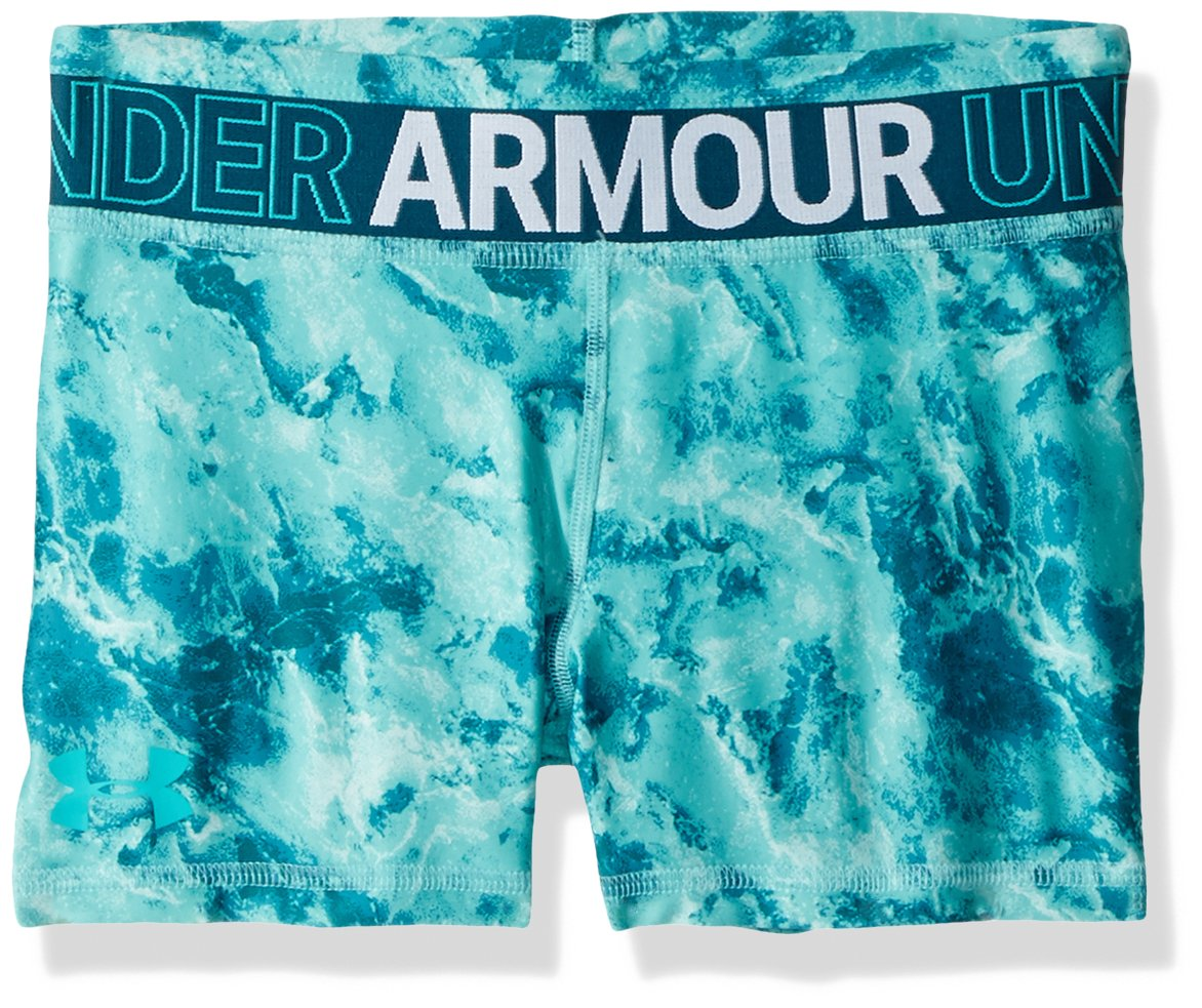 Under Armour Girls' HeatGear Armour Printed Shorty, Teal Punch /Teal Punch, Youth Medium by Under Armour