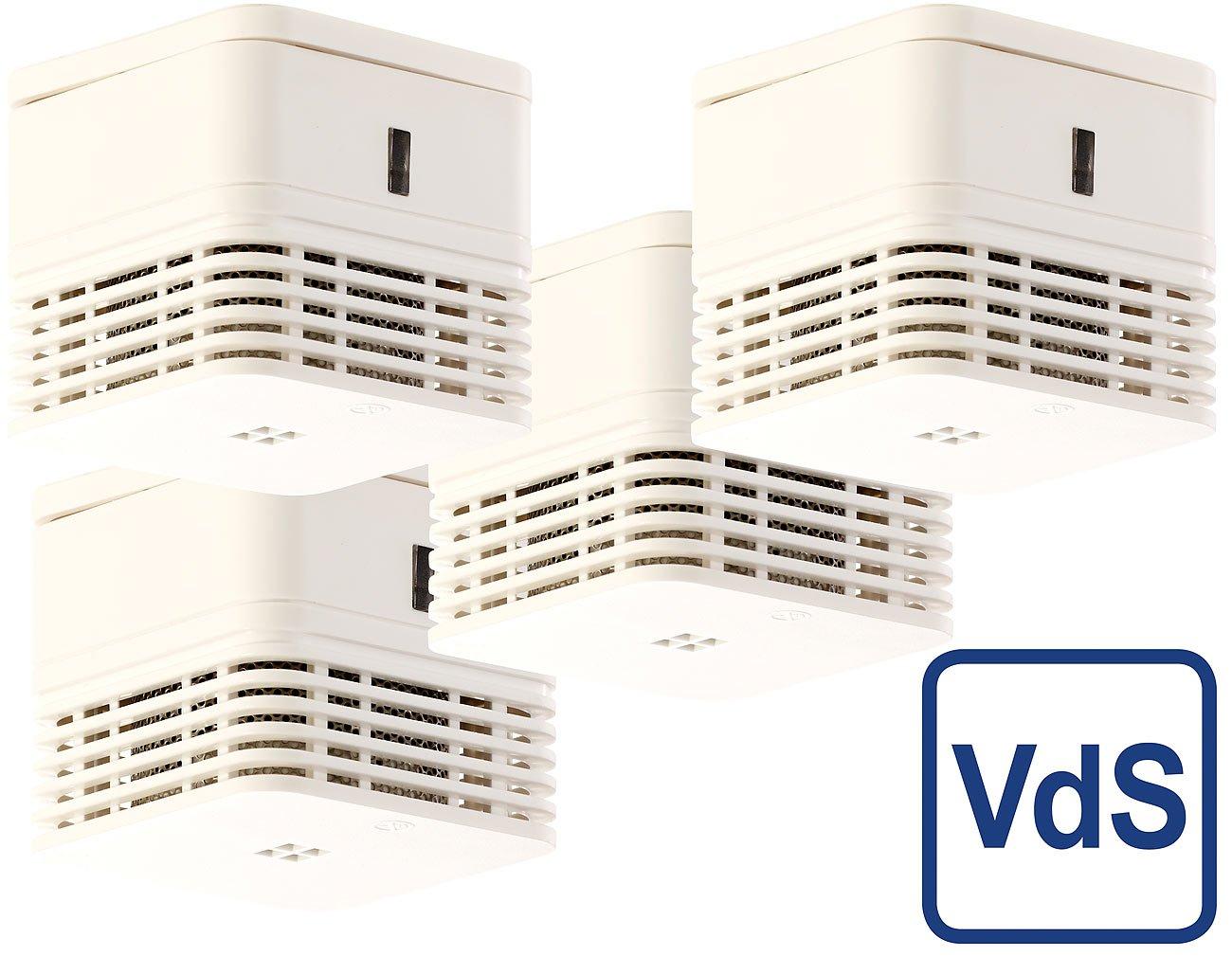 VisorTech Designer Rauchmelder: Mini-Rauchwarnmelder mit 10-Jahres-Batterie, VDs-Zertifiziert, 4er-Set (Batteriebetriebener Rauchmelder)