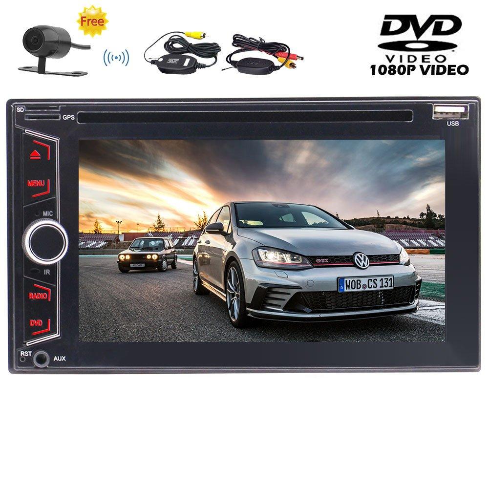 Eincarダブルディンダッシュカーラジオオーディオ車DVD/CDプレーヤーサポートUSB/SDでのカーステレオ6.2インチのマルチタッチスクリーンヘッドユニット/AUX-INサブウーファー1080PビデオのワイヤレスリアカメラなしGPS&プレイ無料 B079K9NWKF