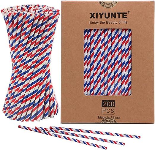 XIYUNTE Pajitas de Papel Biodegradable - 200pcs Bandera Rayas ...