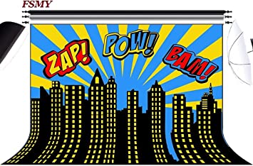 FSMY 7x5ft Superhero Themed Photography Backdrop For Kids Birthday Party SuppliesCustomized City Portait Photo