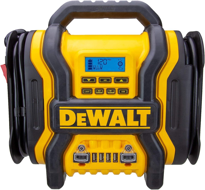 DEWALT DXAEPS14 1400 Peak Battery Amp 12V Automotive Jump Starter/Power Station with 500 Watt AC Power Inverter, 120 PSI Digital Compressor, and USB Power