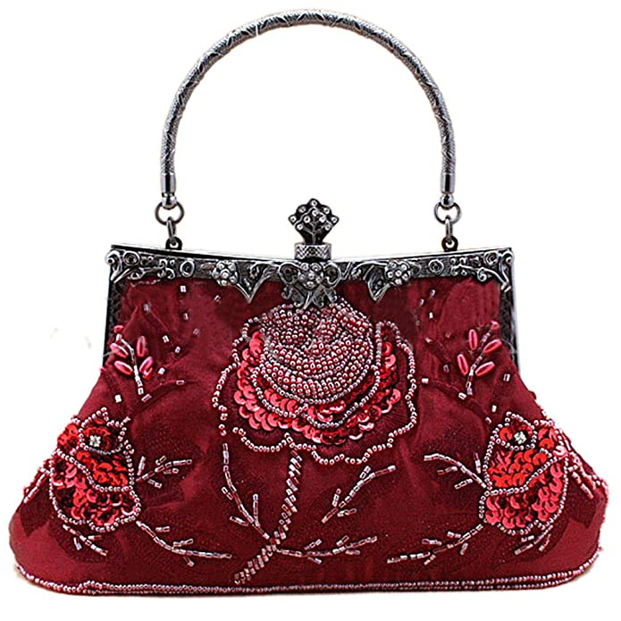 1940s Handbags and Purses History Belsen Womens Vintage Beaded Sequin Evening Handbags $29.95 AT vintagedancer.com