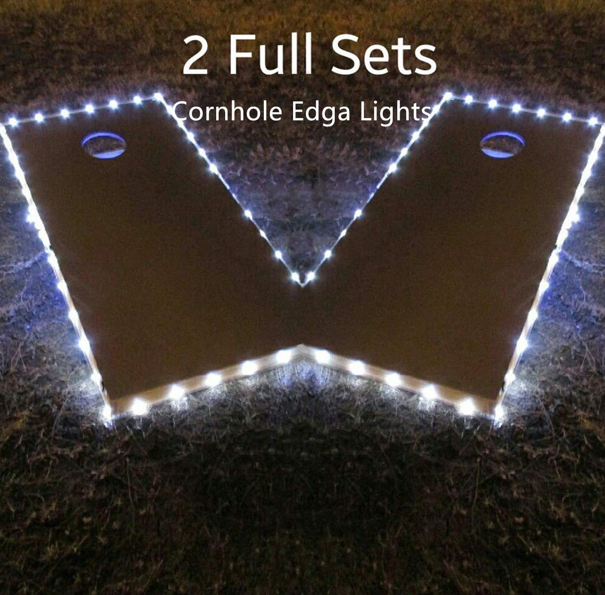 Cornhole Edge Lights Kit (Set of 2), Waterproof Ultra Bright LED Cornhole Board Night Light for Regulation Boards(42ft) Weather Resistant Long Lasting Great for Tailgates Backyard/Lawn Wedding BBQ!
