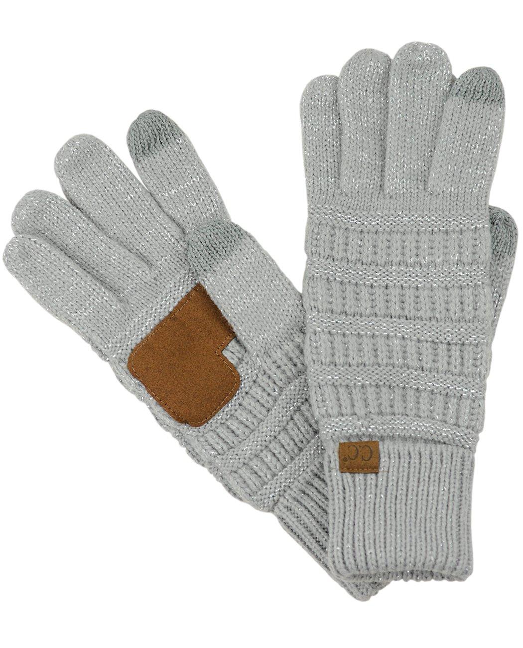 C.C Unisex Cable Knit Winter Warm Anti-Slip Touchscreen Texting Gloves, Light Melange Gray G20-LT MEL GY