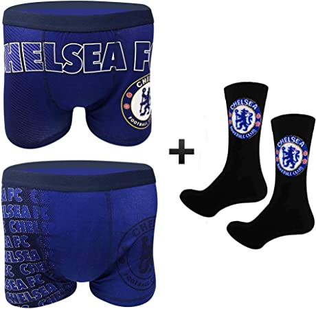 Official Adults Chelsea FC Boxer Shorts (Twin Pack) & Socks Gift Set