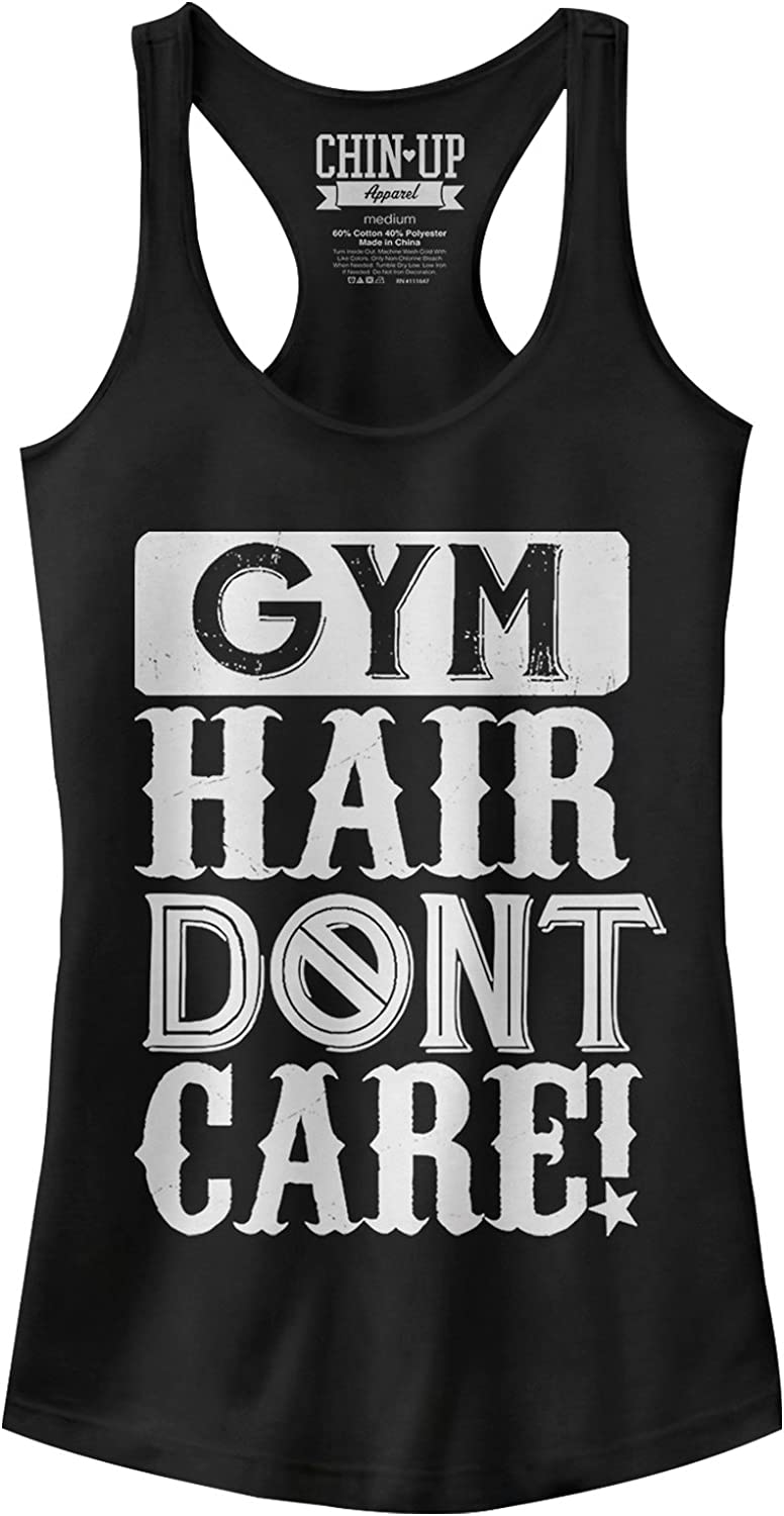 Chin-Up Women's Gym Hair Don't Care Racerback Graphic Tank Top