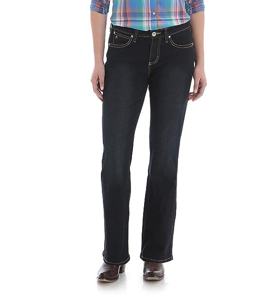 ac03dff5015 Wrangler Women's Aura Instantly Slimming Mid Rise Boot Cut Jean, Blue/Black  Indigo,