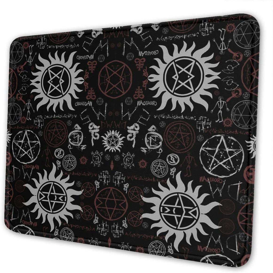Customized Gaming Mouse Pad Supernatural Symbols Black Mousepad Non-Slip Rubber Base for Computers Laptop Office Home Mouse Mat