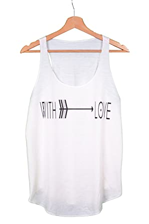 cf7393ee802 with Love Text Print Ethnic Arrow Women Ladies Sleeveless Vest Tank-TOP  Shirt Off White  Amazon.co.uk  Clothing