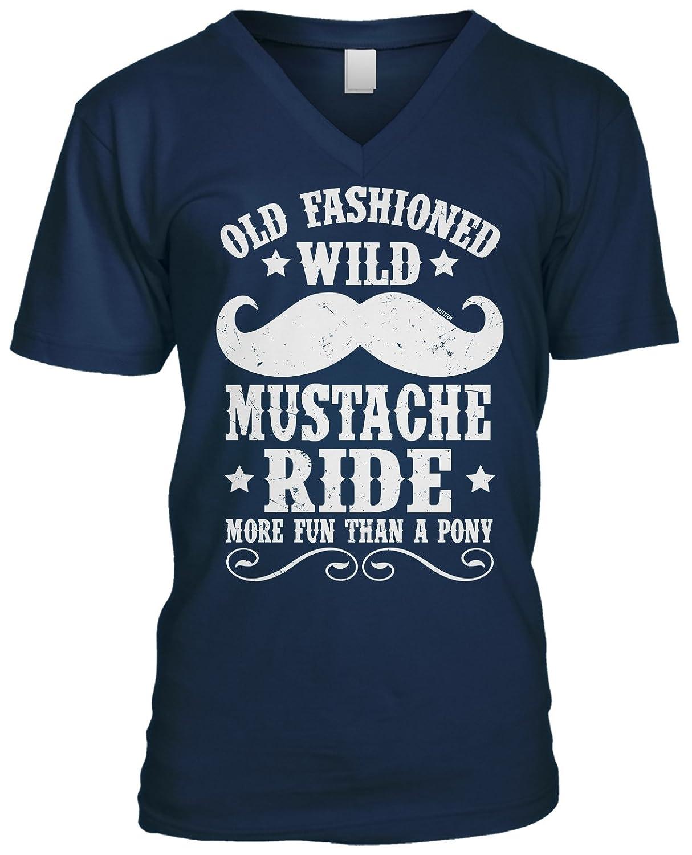Blittzen Mens V-neck T-shirt Old Fashion Wild Mustache Ride