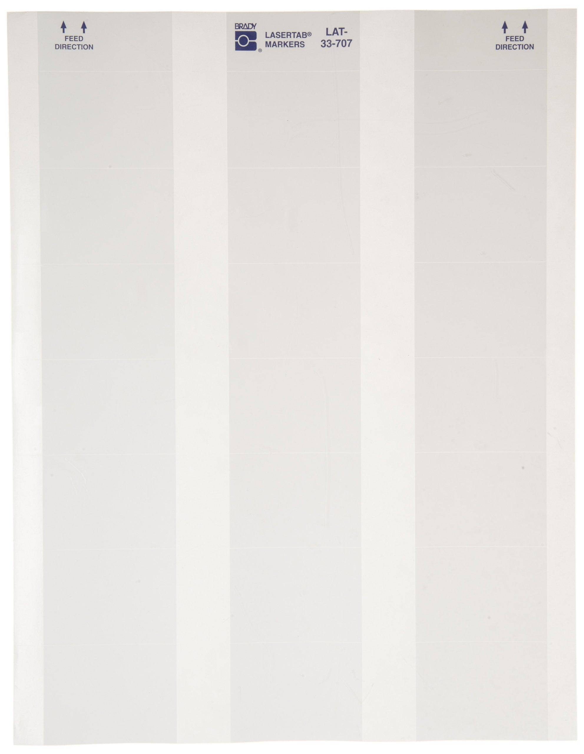 Brady LAT-33-707-1 2'' Width x 1.437'' Height, B-707 Rough Surface Polyester, Matte Finish White Lasertab Laser Printable Label (Pack of 1000)