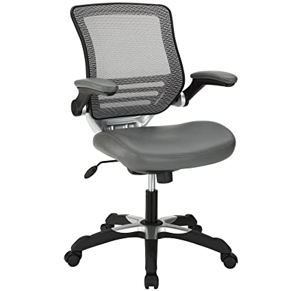 amazon com modway edge mesh back and gray vinyl seat office chair