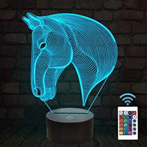 3D Night Lights for Kids Horse Head Illusion Lamp Bedside Lamp 16 Colors Changing with Remote Control Best Birthday Gifts for Child Baby