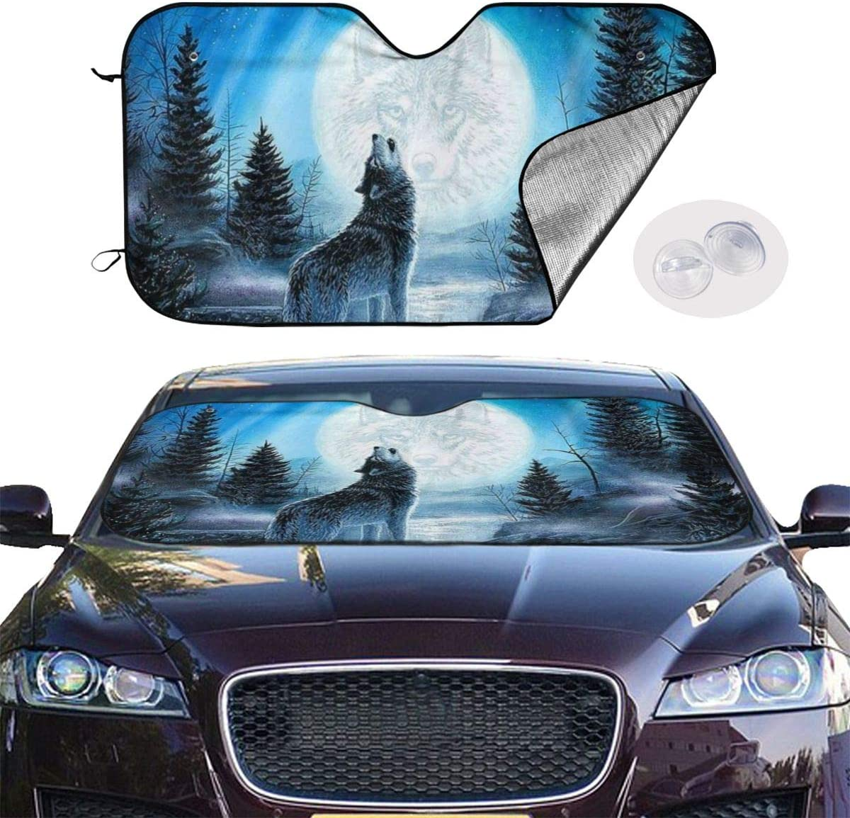 Size 51x27.5 Inch Resentment of The Wolf Auto Front Windshield Sun Shade Car Window Foldable Sunshade Cover Uv Rays Sun Visor Protector and Keeps Your Vehicle Cool