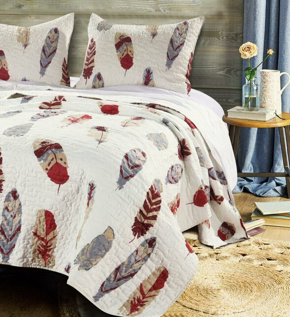 Quilt Set with Shams 3 Piece Feather Theme Print Design Lodge Log Cabin Bedding Ivory Red Grey Luxury Reversible Bedspread Oversized King/Cal King Size - Includes Bed Sheet Straps