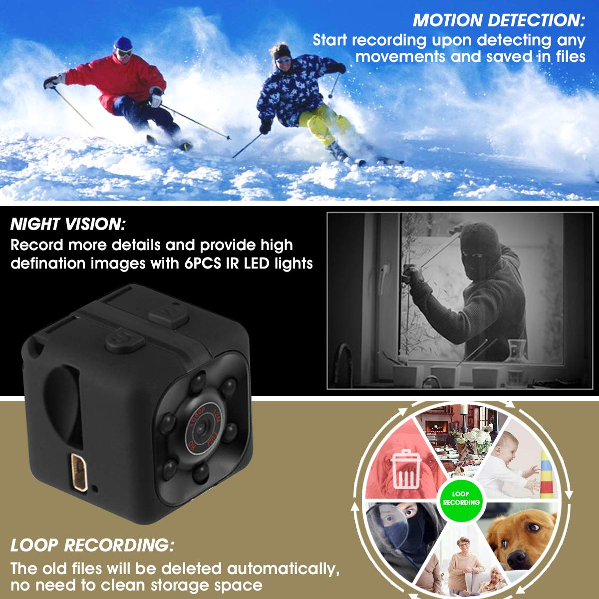 1080P HD Hidden Camera Snapshot Video Recorder with Night Vision Motion Detection Nanny Cam for Home Office Security Mini Spy Camera