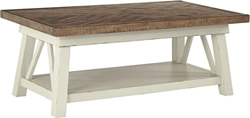 Signature Design by Ashley – Stowbranner Farmhouse Rectangular Cocktail Table, White Brown
