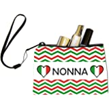 Rikki Knight Nonna name on Italian Flag and Green and Red Chevron Design Keys Coins Cards Cosmetic Mini Clutch Wristlet