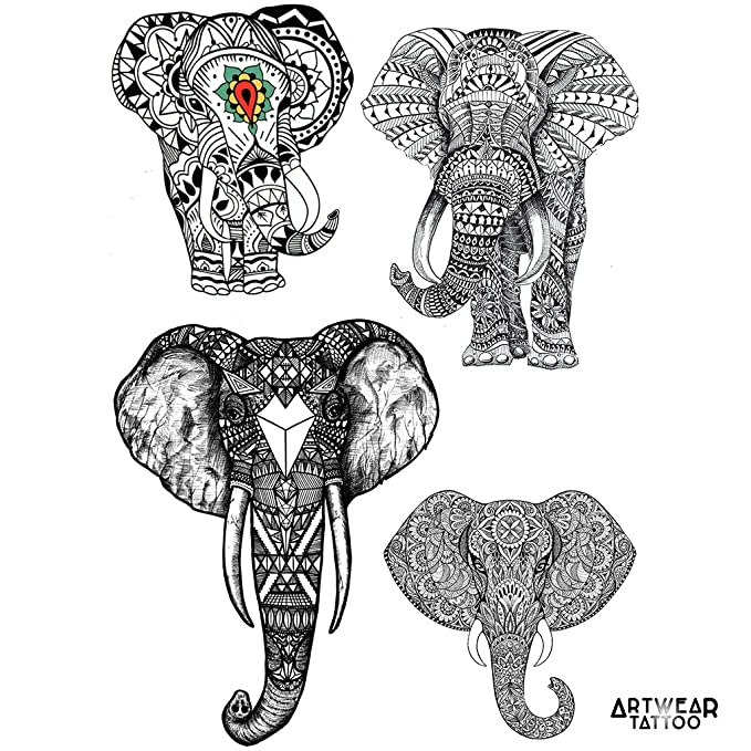 Tatouage Temporaire Artwear Tattoo Elephants Amazon Fr Beaute Et
