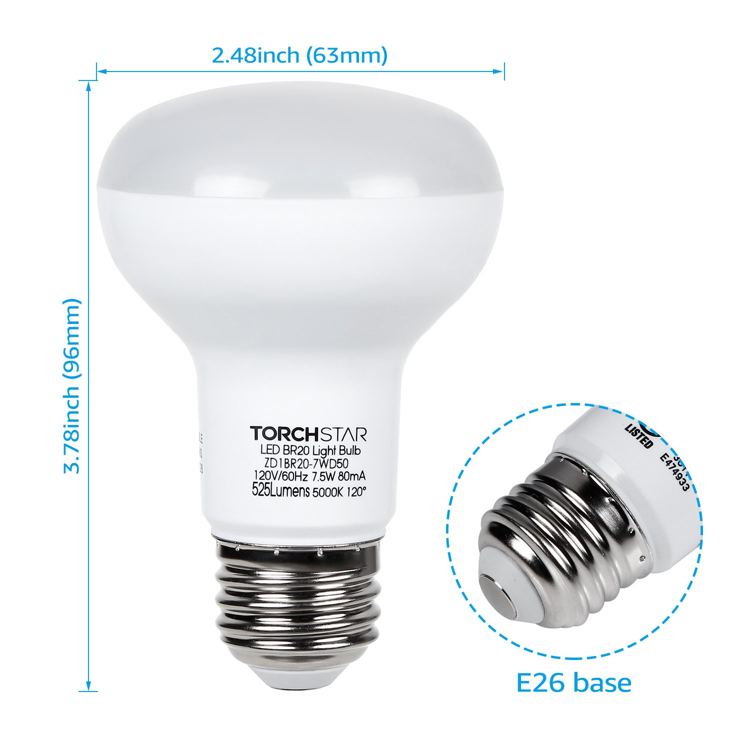 E26 Base Pack of 4 TORCHSTAR Dimmable BR20 LED Flood Light Bulb 3 Years Warranty UL /& Energy Star Listed 525 Lumens 5000K Daylight 7.5W 50W Incandescent Equivalent