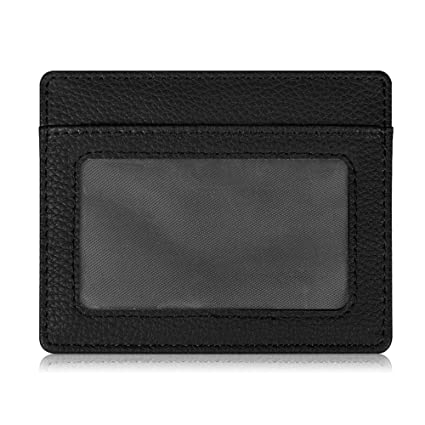 the best attitude 801d2 6d798 Fintie Credit Card Holder with ID Window - [RFID Blocking] Premium PU  Leather Slim Wallet Credit Card Case Sleeve, Black
