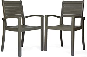 Great Deal Furniture Watts Outdoor Acacia Wood Dining Chairs, Gray Finish (Set of 2)