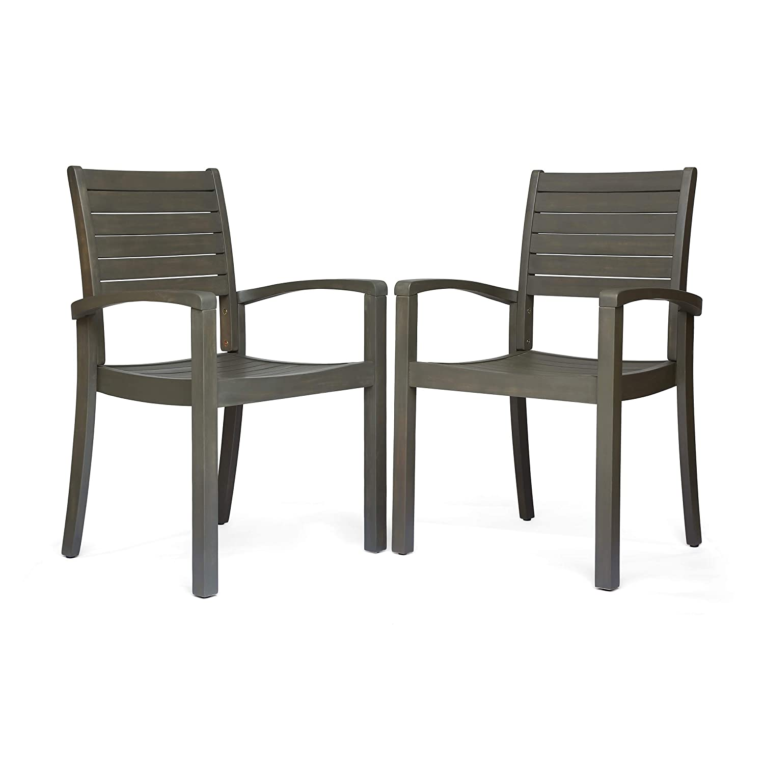 Amazon com great deal furniture watts outdoor acacia wood dining chairs gray finish set of 2 garden outdoor