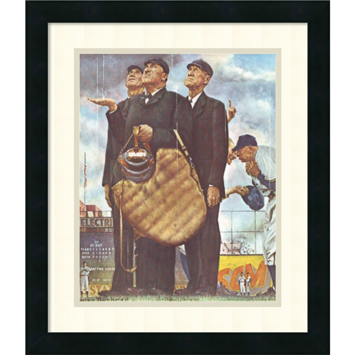 Framed Art Print, 'Three Umpires' by Norman Rockwell: Outer Size 17 x 20'' by Amanti Art