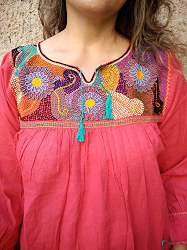 Amazon.com: Women\'s Mexican Embroidered Tunic Campesina ...