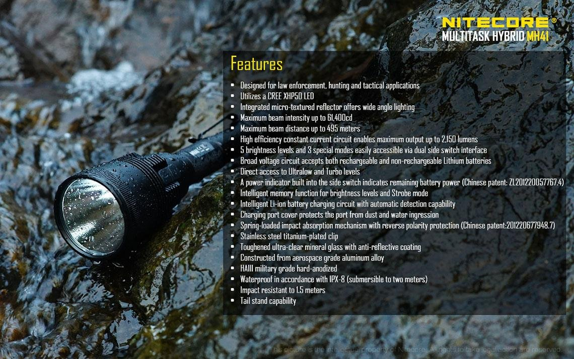 Amazon.com: Nitecore MH41 Rechargeable Flashlight CREE XHP50 ...