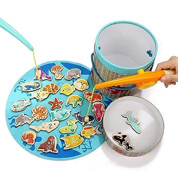 Amazon.com: Top Bright Juego de pesca magnético juguetes ...