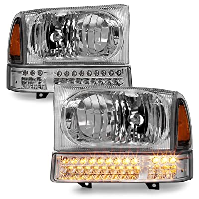ACANII - For 1999-2004 Ford F250 F350 00-04 Excursion Headlights w/LED Parking Signal Lamps Driver + Passenger Side: Automotive